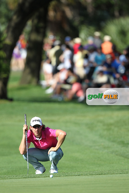 Derek Ernst of USA lines up a putt on the 17th green during the 3rd round of the Valspar Championship, Innisbrook Resort (Copperhead), Palm Harbor, Florida, USA<br /> Picture: Peter Mulhy / Golffile
