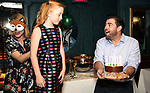 """Kate MacCluggage, Charlotte Wise and Jason O'Connell attend the Birthday Party Photo Call for the Wheelhouse Theater Company production of Kurt Vonnegut's """"Happy Birthday, Wanda June""""  on October 3, 2018 at Bond 45 Times Square in New York City."""