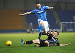St Johnstone v Kilmarnock....09.01.16  Scottish Cup  McDiarmid Park, Perth<br /> Lee Ashcroft tackles Chris Kane<br /> Picture by Graeme Hart.<br /> Copyright Perthshire Picture Agency<br /> Tel: 01738 623350  Mobile: 07990 594431