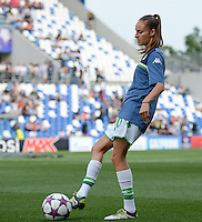 20160526 - REGGIO EMILIA , ITALY : Wolfsburg's Tessa Wullaert pictured during warming up of a womensoccer match between the teams of  VFL Wolfsburg Frauen and Olympique Lyon , during the final of the Uefa Women Champions League 2015 - 2016 in Stadio citta del tricolore Stadium , Reggio Nell Emilia - Italy , Thursday 26 May 2016 . PHOTO SPORTPIX.BE / DAVID CATRY