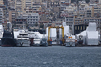 Border Control vessel HMC Valiant (4th L) by a shipyard in the Perama area of Piraeus, Greece. Thursday 03 January 2019