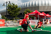 State fans street team performs prior to a CONCACAF Gold Cup group B match at Red Bull Arena in Harrison, NJ, on July 8, 2013.