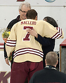 Allan MacLeod, Isaac MacLeod (BC - 7), Deborah MacLeod - The visiting University of Notre Dame Fighting Irish defeated the Boston College Eagles 2-1 in overtime on Saturday, March 1, 2014, at Kelley Rink in Conte Forum in Chestnut Hill, Massachusetts.