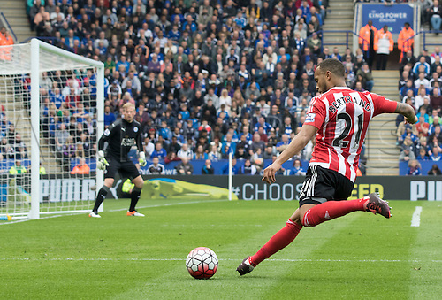 03.04.2016. King Power Stadium, Leicester, England. Barclays Premier League. Leicester versus Southampton.  Southampton defender Ryan Bertrand crossing the ball in to the Leicester goal area.