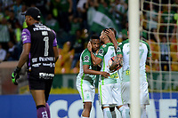 MEDELLIN  -  COLOMBIA - 25 - 05 - 2017: Los jugadores de Atletico Nacional, celebran el gol anotado a Barcelona, durante partido de la fase de grupos, grupo 1 fecha 6, entre Atletico Nacional y Barcelona de Ecuador, por la Copa Conmebol Libertadores Bridgestone 2017, en el Estadio Atanasio Girardot, de la ciudad de Medellin./ The players of Atletico Nacional, celebrate the goal scored against Barcelona, during a match for the group stage, group 1 of the date 6th, between Atletico Nacional of Colombia and Barcelona of Ecuador, for the Conmebol Libertadores Bridgestone Cup 2017, at the Atanasio Girardot, Stadium, in Medellin city. Photos: VizzorImage / Leon Monsalve / Cont.