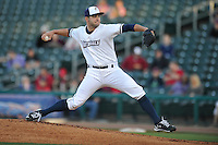 Northwest Arkansas Naturals starting pitcher Jake Junis (22) throws during the game against the Springfield Cardinals at Arvest Ballpark on May 3, 2016 in Springdale, Arkansas.  Springfield won 5-1.  (Dennis Hubbard/Four Seam Images)