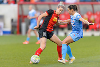 Bridgeview, IL, USA - Saturday, April 23, 2016: Western New York Flash defender Alanna Kennedy (8) and Chicago Red Stars midfielder Vanessa DiBernardo (10) during a regular season National Women's Soccer League match between the Chicago Red Stars and the Western New York Flash at Toyota Park. Chicago won 1-0.