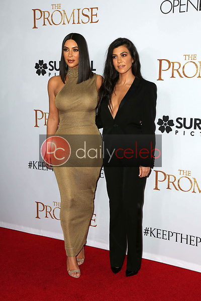 "Kim Kardashian, Kourtney Kardashian<br /> at the ""The Promise"" Premiere, TCL Chinese Theater. Hollywood, CA 04-12-17<br /> David Edwards/DailyCeleb.com 818-249-4998"