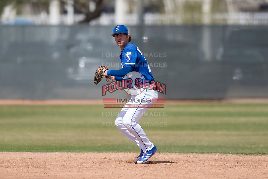 Kansas City Royals shortstop Max Bartlett (22) during a Minor League Spring Training game against the Milwaukee Brewers at Maryvale Baseball Park on March 25, 2018 in Phoenix, Arizona. (Zachary Lucy/Four Seam Images)