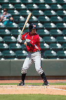Dustin Peterson 46 of the Carolina Mudcats at bat against the Winston-Salem Dash at BB&T Ballpark on April 22, 2015 in Winston-Salem, North Carolina.  The Dash defeated the Mudcats 4-2..  (Brian Westerholt/Four Seam Images)