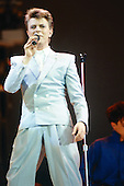 David Bowie - performing live at Live Aid held at Wembley Stadium in London UK - July 13, 1985.  Photo Credit : David Plastik/Iconicpix