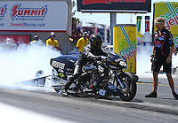 Apr 11, 2015; Las Vegas, NV, USA; NHRA top fuel Harley rider Len Darnell Jr during qualifying for the Summitracing.com Nationals at The Strip at Las Vegas Motor Speedway. Mandatory Credit: Mark J. Rebilas-