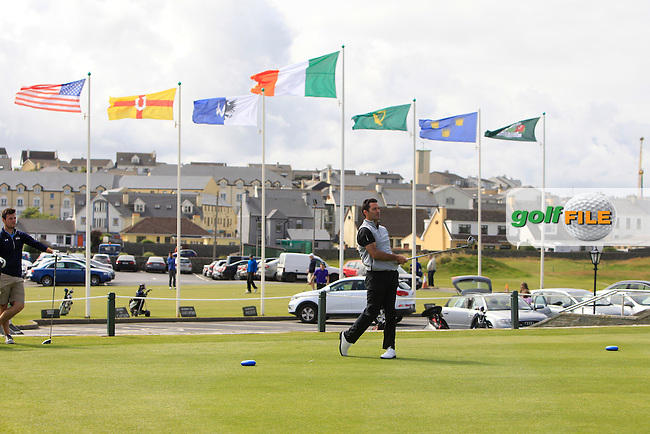 Gary O'Flaherty (Cork) on the 1st tee during Round 1 of the South of Ireland Amateur Open Championship at LaHinch Golf Club on Wednesday 22nd July 2015.<br /> Picture:  Golffile | Thos Caffrey