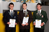 Orienteering Boys finalists Matthew Milner, Dominic Melchers and Ben Reynolds.  ASB College Sport Young Sportsperson of the Year Awards held at Eden Park, Auckland, on November 11th 2010.