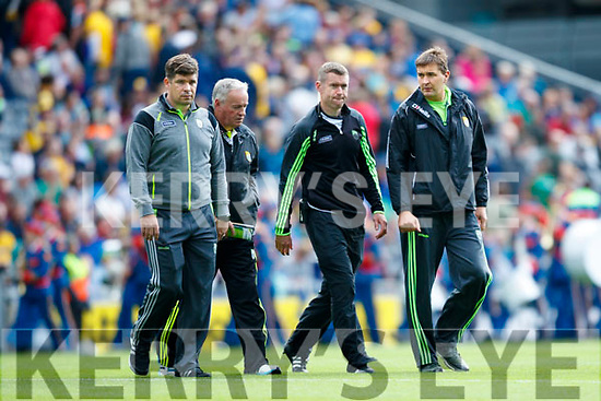 Kerry Manager Eamonn Fitzmaurice, Mikey Sheehy Padraig Corcoran and Maurice Fitzgerald Kerry management team. Kerry v Galway in the All Ireland Senior Football Quarter Final at Croke Park on Sunday.