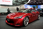 Toyota Motor Corp.'s FT-86 concept car is displayed during a pre-opening day for the media two days before the start of the 41st Tokyo Motor Show 2009 at Makuhari Messe in Chiba, Japan on Wed., Oct. 21 2009..Photographer: Robert Gilhooly