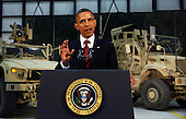 United States President Barack Obama delivers an address to the American people on U.S. policy and the war in Afghanistan during his visit to Bagram Air Base in Kabul, Afghanistan, Wednesday, May 2, 2012. .Credit: Kevin Lamarque - Pool via CNP