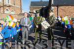 Members of the Defence Forces Lt Denis Sheahan and Gunner Mark Coffey arrived with the Irish flag and the proclamation at Presentation  Primary School on Tuesday to  commemorate the 100 year anniversary.Pictured with principal Pat Sayers