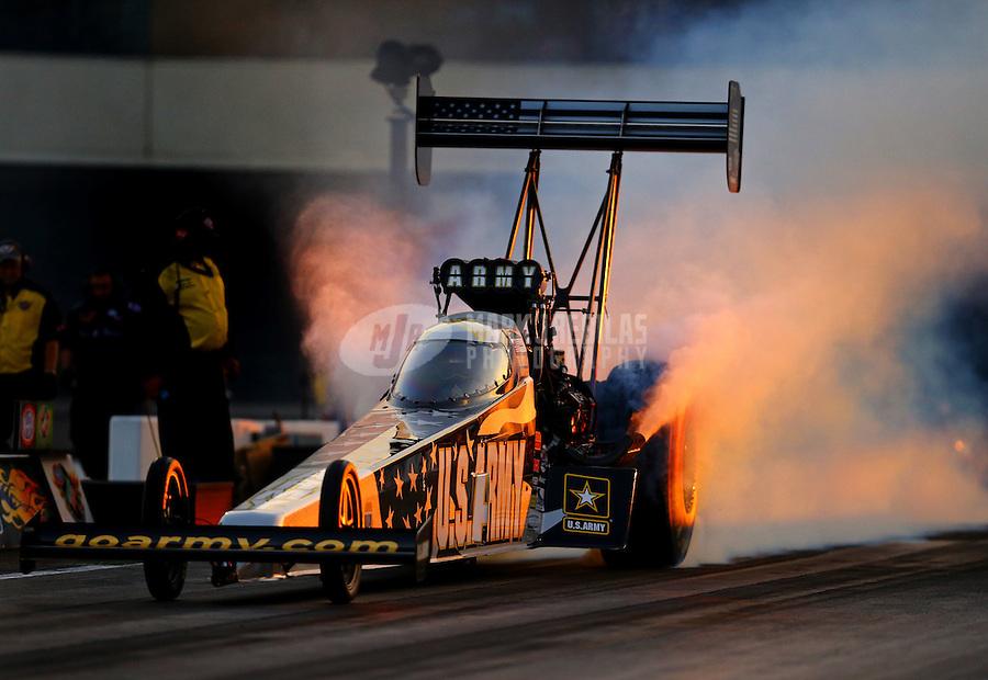Sep 18, 2015; Concord, NC, USA; NHRA top fuel driver Tony Schumacher during qualifying for the Carolina Nationals at zMax Dragway. Mandatory Credit: Mark J. Rebilas-USA TODAY Sports