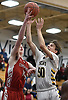 Pat Healy #50 of Northport, right, drives to the net to draw a shooting foul during a Suffolk II boys basketball game against Connetquot at Northport High School on Wednesday, Jan. 9, 2019. He scored 13 points. Northport won by a score of 62-48.