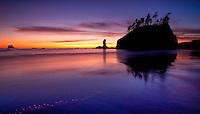 sunset at Second Beach, Olympic Peninsula, Washington State