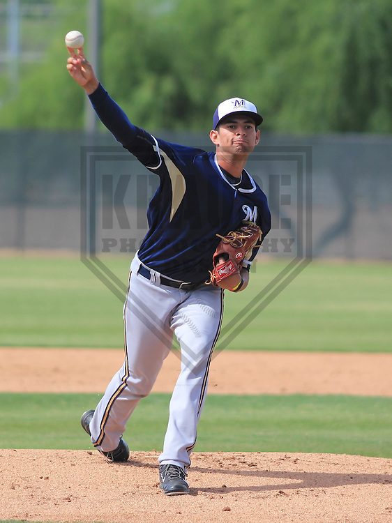 MARYVALE - March 2015: Victor Diaz of the Milwaukee Brewers during a spring training workout on March 26th, 2015 at Maryvale Baseball Park in Mesa, Arizona. (Photo Credit: Brad Krause)