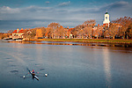 A lone rower practices on the Charles River at Harvard University, Cambridge, MA, USA