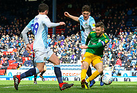 Preston North End's Paul Gallagher shoots at goal under pressure from Blackburn Rovers' Richard Smallwood<br /> <br /> Photographer Alex Dodd/CameraSport<br /> <br /> The EFL Sky Bet Championship - Blackburn Rovers v Preston North End - Saturday 9th March 2019 - Ewood Park - Blackburn<br /> <br /> World Copyright © 2019 CameraSport. All rights reserved. 43 Linden Ave. Countesthorpe. Leicester. England. LE8 5PG - Tel: +44 (0) 116 277 4147 - admin@camerasport.com - www.camerasport.com