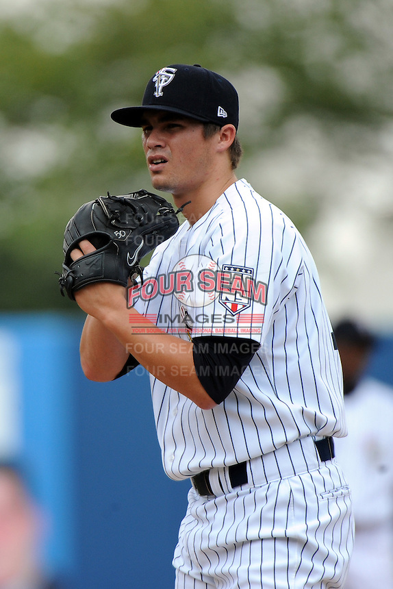 Staten Island Yankees pitcher Taylor Garrison (12) during game against the Aberdeen Ironbirds at Richmond County Bank Ballpark at St.George on July 18, 2012 in Staten Island, NY.  Staten Island defeated Aberdeen 3-2.  Tomasso DeRosa/Four Seam Images