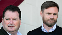 Scunthorpe United chairman Peter Swann, left, and Scunthorpe United manager Graham Alexander during the pre-match warm-up<br /> <br /> Photographer Chris Vaughan/CameraSport<br /> <br /> The EFL Sky Bet League One - Scunthorpe United v Bristol Rovers - Saturday 11th November 2017 - Glanford Park - Scunthorpe<br /> <br /> World Copyright &copy; 2017 CameraSport. All rights reserved. 43 Linden Ave. Countesthorpe. Leicester. England. LE8 5PG - Tel: +44 (0) 116 277 4147 - admin@camerasport.com - www.camerasport.com