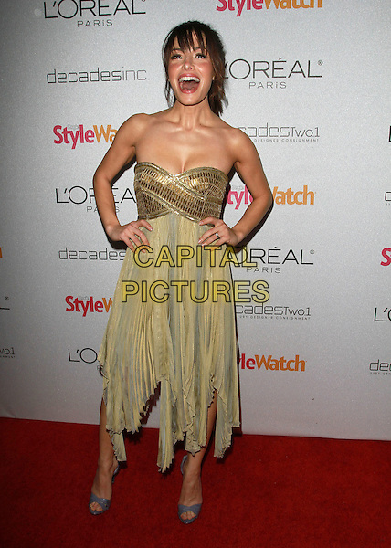 SARAH SHAHI.People StyleWatch Hosts 'A Night Of Red Carpet Style' held At Decades, Los Angeles, CA, USA..January 27th, 2011.full length beige gold green strapless dress grey gray open toe shoes hands on hips mouth open.CAP/ADM/KB.©Kevan Brooks/AdMedia/Capital Pictures.