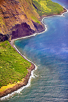 Molokai coastline from the air. Molokai. Hawaii