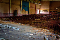 The abandoned theater located on Fort Chaffee near Fort Smith Arkansas. Construction of Fort Chaffee started in September of 1941 during World War II in addition to providing a training facility for US soldiers Fort Chaffee served as a POW camp housing 3000 German prisoners of war. In September of 1977 Fort Chaffee was officially closed and command was transferred to the US Army Arkansas National Guard with portions of the land being turned over to the Fort Chaffee Redevelopment Authority.