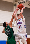 WOODBURY, CT. 08 January 2020-010820BS555 - Nonnewaug's Tyler Lindberg (11), right, gets fouled by Wilby's Jonathan Matias (23) as he drives to the basket,  during a Boys Basketball game betweem Wilby and Nonnewaug at Nonnewaug High School in Woodbury on Wednesday. Bill Shettle Republican-American