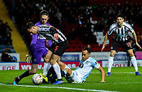 Blackburn Rovers' Elliott Bennett vies for possession with Newcastle United's Fabian Schar<br /> <br /> Photographer Alex Dodd/CameraSport<br /> <br /> Emirates FA Cup Third Round Replay - Blackburn Rovers v Newcastle United - Tuesday 15th January 2019 - Ewood Park - Blackburn<br />  <br /> World Copyright © 2019 CameraSport. All rights reserved. 43 Linden Ave. Countesthorpe. Leicester. England. LE8 5PG - Tel: +44 (0) 116 277 4147 - admin@camerasport.com - www.camerasport.com