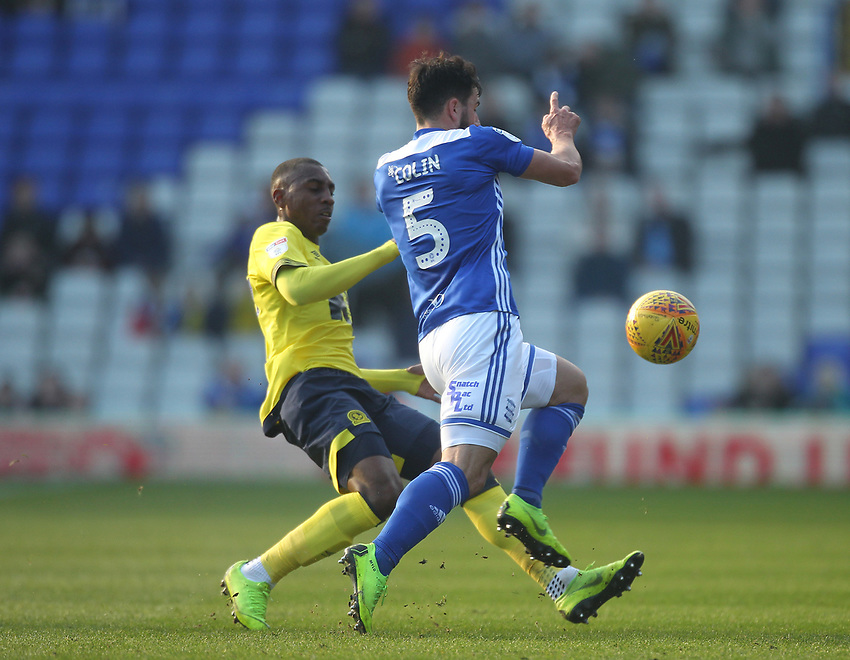 Blackburn Rovers Amari'i Bell battles with  Birmingham City's Maxime Colin<br /> <br /> Photographer Mick Walker/CameraSport<br /> <br /> The EFL Sky Bet Championship - Birmingham City v Blackburn Rovers - Saturday 23rd February 2019 - St Andrew's - Birmingham<br /> <br /> World Copyright © 2019 CameraSport. All rights reserved. 43 Linden Ave. Countesthorpe. Leicester. England. LE8 5PG - Tel: +44 (0) 116 277 4147 - admin@camerasport.com - www.camerasport.com