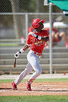 GCL Cardinals center fielder Carlos Soler (43) follows through on a swing during a game against the GCL Nationals on August 5, 2018 at Roger Dean Chevrolet Stadium in Jupiter, Florida.  GCL Cardinals defeated GCL Nationals 17-7.  (Mike Janes/Four Seam Images)