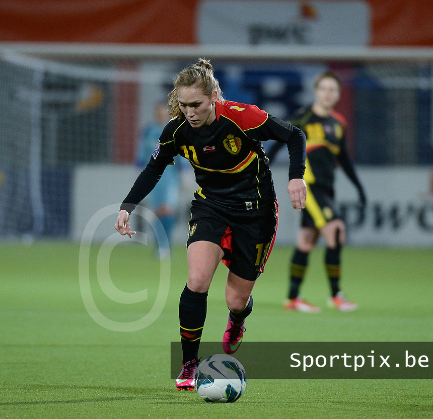 20140212 - ZWOLLE , THE NETHERLANDS : Belgian Janice Cayman pictured during the female soccer match between The Netherlands and Belgium , on the fifth matchday in group 5 of the UEFA qualifying round to the FIFA Women World Cup in Canada 2015 at Het Ijseldelta Stadion , Zwolle . Wednesday 12th February 2014 . PHOTO DAVID CATRY