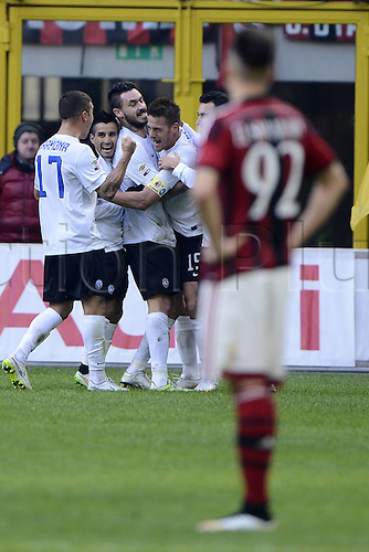 18.01.2015. Milan, Italy. Serie A football league. AC Milan verus Atalanta.  Goal celebration from German Denis for Atalanta 0-1.