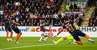 Burnley's Aaron Lennon sees his shot saved by Istanbul Basaksehir's Mert Gunok<br /> <br /> Photographer Alex Dodd/CameraSport<br /> <br /> UEFA Europa League - Third Qualifying Round 2nd Leg - Burnley v Istanbul Basaksehir - Thursday 16th August 2018 - Turf Moor - Burnley<br />  <br /> World Copyright © 2018 CameraSport. All rights reserved. 43 Linden Ave. Countesthorpe. Leicester. England. LE8 5PG - Tel: +44 (0) 116 277 4147 - admin@camerasport.com - www.camerasport.com