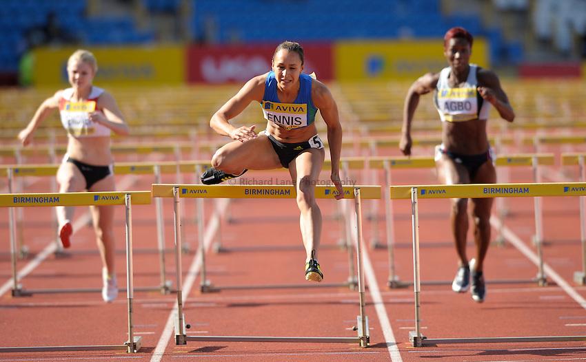 Photo: Ady Kerry/Richard Lane Photography..Aviva World Trials & UK Championships athletics. 12/07/2009. .Jessica Ennis 100m hurdles semi final