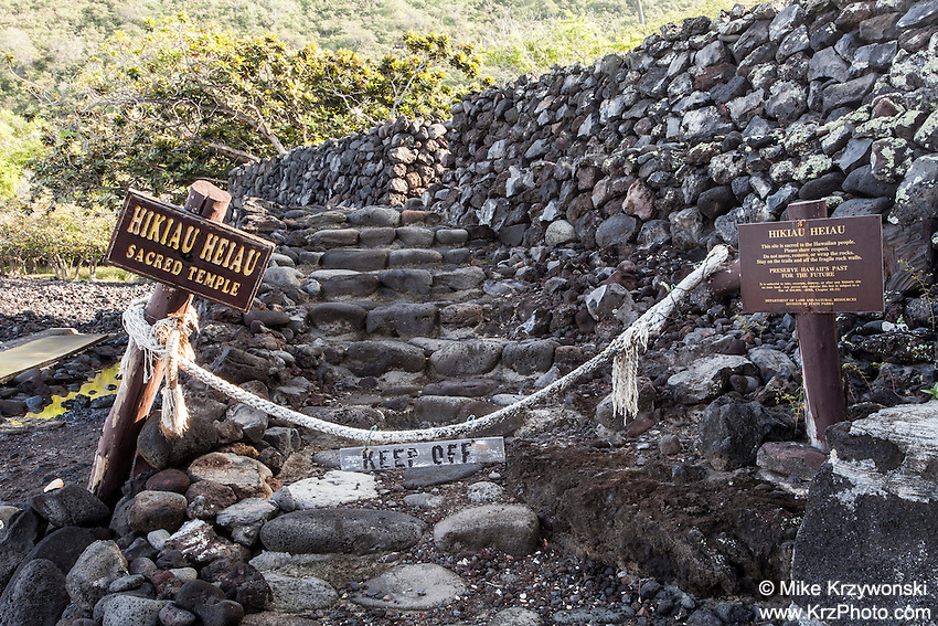 Closed entrance to Hikiau Heiau, Kealakekua Bay, Big Island, Hawaii