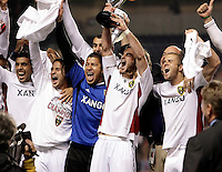 Real Salt Lake's Ned Grabavoy (20), Nick Rimando (18), Kyle Beckerman (5), and Chris Wingert (17) celebrate the Real Salt Lake victory.  Real Salt Lake defeated the Chicago Fire in a penalty kick shootout 0-0 (5-4 PK) in the Eastern Conference Final at Toyota Park in Bridgeview, IL on November 14, 2009.