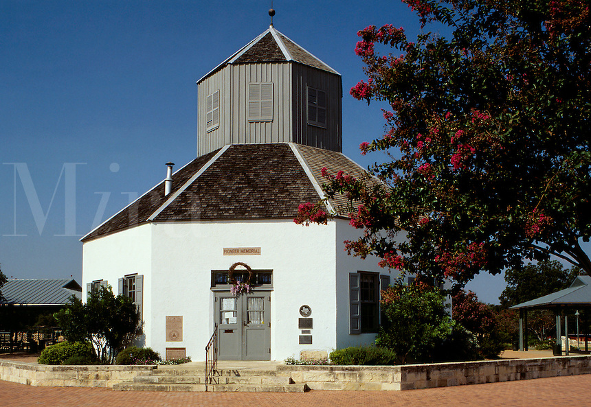 Veriens Kirsche (church), built 1847, was the center of German settlement in the Texas Hill Country and is now the Pioneer Museum Community Hall. Town founded in 1846. Fredericksburg, Texas