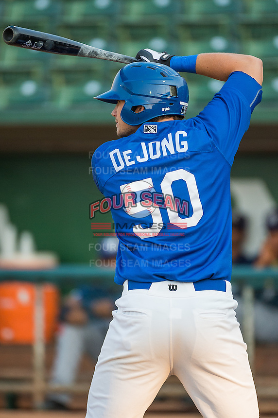 Scott De Jong (50) of the Ogden Raptors at bat against the Helena Brewers in Pioneer League action at Lindquist Field on August 19, 2015 in Ogden, Utah. Ogden defeated Helena 4-2.  (Stephen Smith/Four Seam Images)
