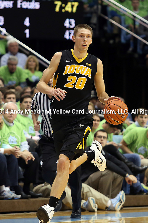 03 December 2014: Iowa's Jarrod Uthoff. The University of North Carolina Tar Heels played the University of Iowa Hawkeyes in an NCAA Division I Men's basketball game at the Dean E. Smith Center in Chapel Hill, North Carolina. Iowa won the game 60-55.