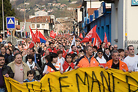 "Switzerland. Canton Ticino. Bellinzona. Town center. Massive demonstration ( estimation of 8000 people) to denounce the ultimatum from SBB CFF FFS and to support the SBB CFF FFS Cargo railway workers on strike and the committee"" Giù le mani dall'Officina di Bellinzona"" . 30.03.08. © 2008 Didier Ruef"