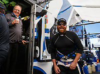 Apr 23, 2017; Baytown, TX, USA; NHRA top fuel driver Shawn Langdon (right) talks with team owner Connie Kalitta during the Springnationals at Royal Purple Raceway. Mandatory Credit: Mark J. Rebilas-USA TODAY Sports