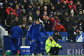 18th March 2018, King Power Stadium, Leicester, England; FA Cup football, quarter final, Leicester City versus Chelsea; Leicester City fans complain to the fourth official about the low amount of added time after extra time