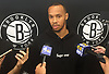 Shabazz Napier of the Brooklyn Nets speaks with the media at HSS Training Center in Brooklyn, NY on Tuesday, July 17, 2018.